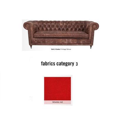 Sofá Oxford, 3 puestos, tela 3 - Velvetex Red (220x76x92cms)