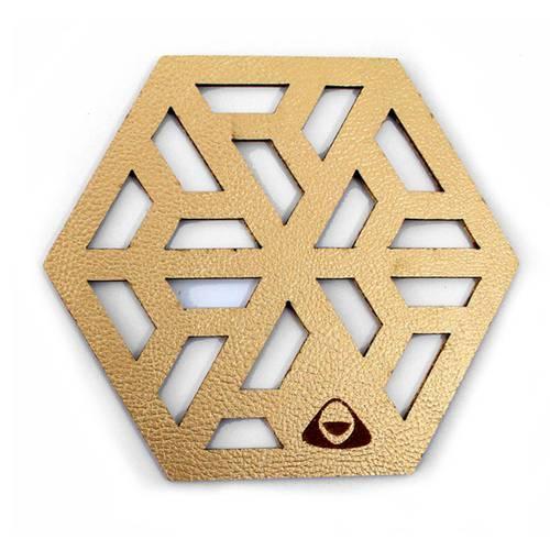 Portavaso para Mesa, Doble Faz Dorado Mod Cubit 11cm
