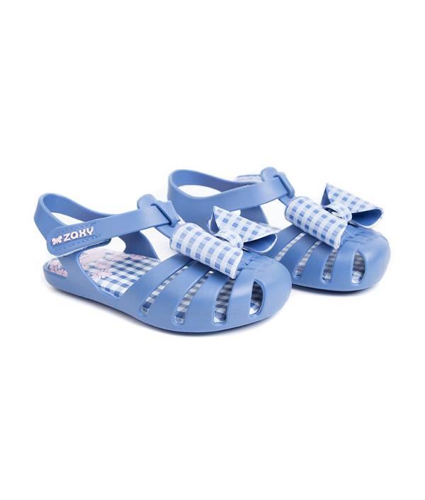 Sandalia Caminadora Azul Con Moño