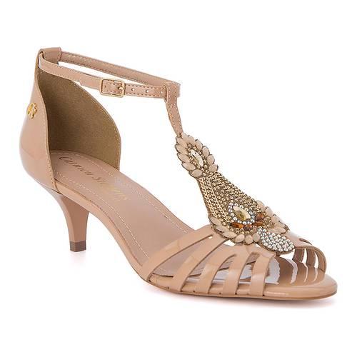 Sandalias con Bordado Rosa/Oro