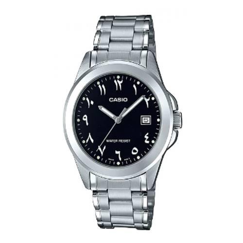 Reloj análogo negro-plateado MTP-1215A-1B3