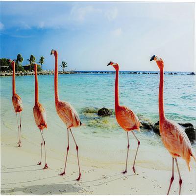 Cuadro cristal Flamingo Marsch 80x80cm