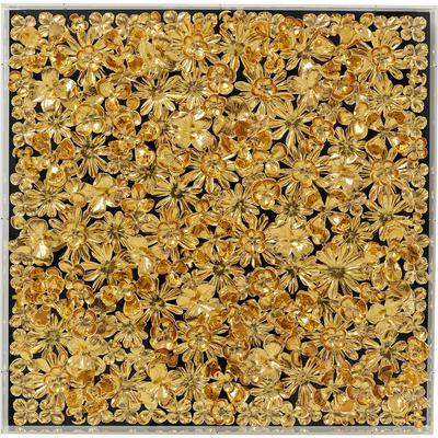 Cuadro Flower oro 80x80cm