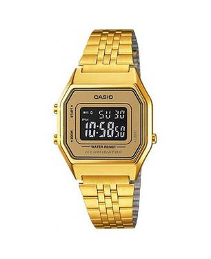 Reloj retro digital negro-café-dorado A-9B