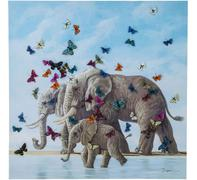 Cuadro Elefants with Butterflys 120x120cm