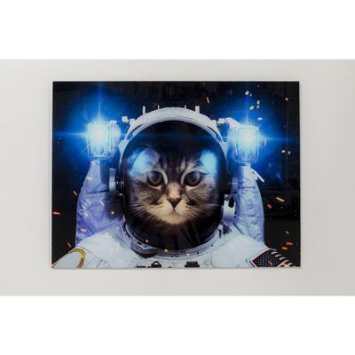 Cuadro cristal Cat in Space 80x60