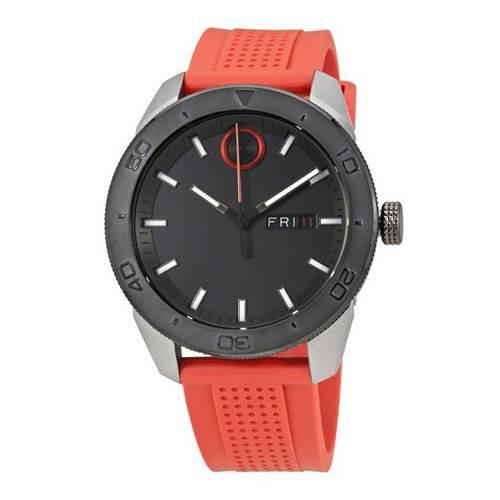 Reloj análogo negro-naranja 0453