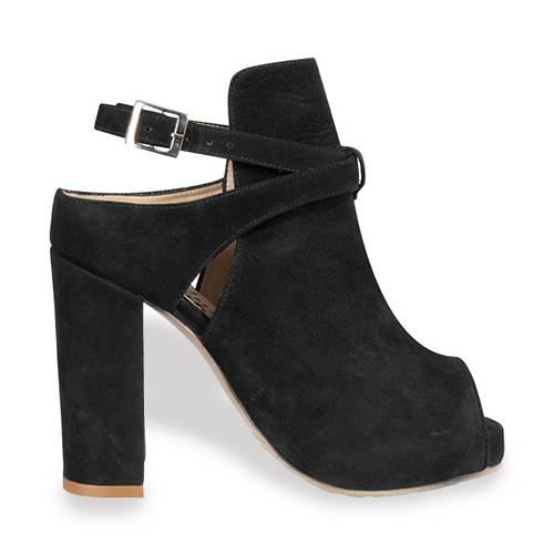 Zapato Peep Toe En Cuero Negro