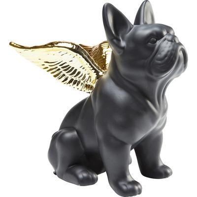 Figura decorativa Sitting Angel Dog oro negro
