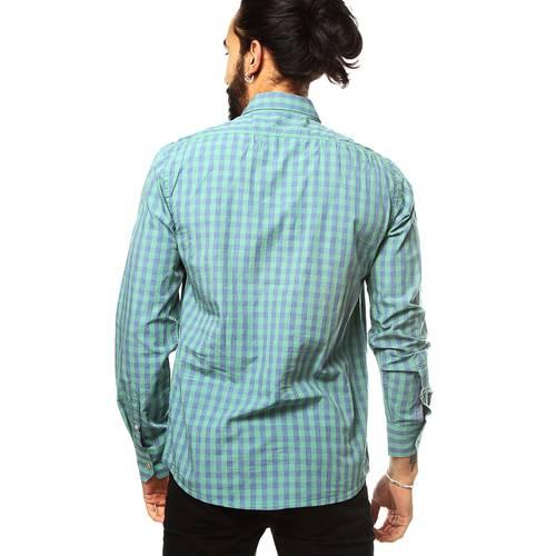 Camisa Manga Larga Wooster Color Siete para Hombre - Verde