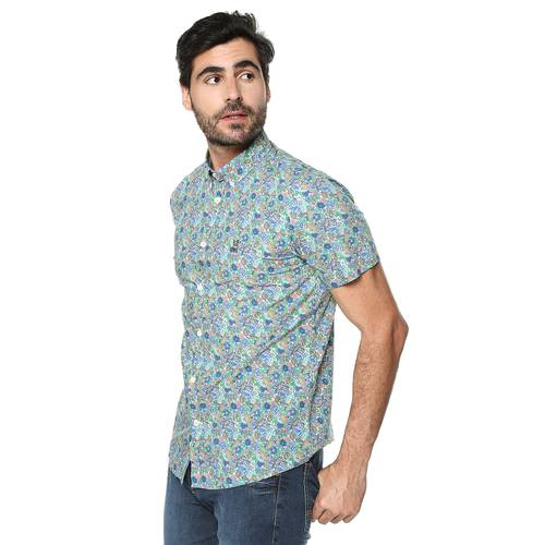 Camisa Greenport Manga Corta Jack Supplies Para Hombre  - Azul