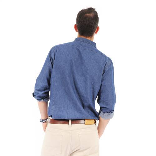 Camisa Manga Larga Color Siete Para Hombre - Azul