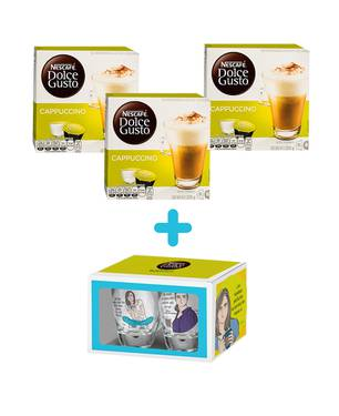 48 capsulas de Café Cappuccino + Set 2 vasos Aleida