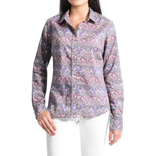 Camisa Manga Larga Clasica Estampada Color Siete para Mujer