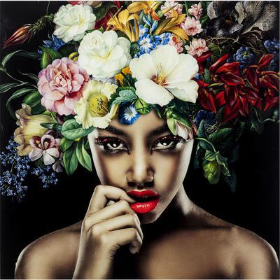 Cuadro cristal Pretty Flower Woman 100x100