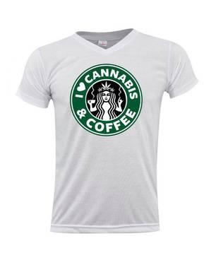 Camiseta Cuello V Cannabis Y Coffee 0182 - ART GENERATION