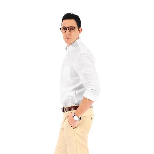 Camisa Manga Larga Jones Color Siete Para Hombre  - Blanco