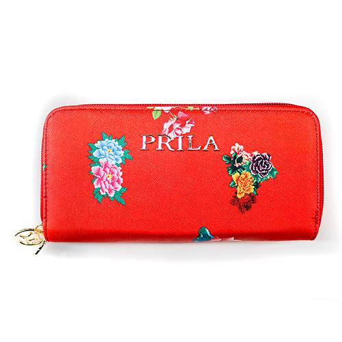 Billetera Larga Doble Flores Rojo - Lausana