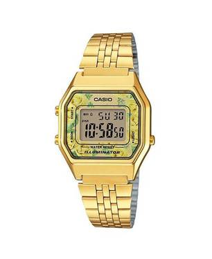 Reloj retro digital amarillo-dorado A-9C