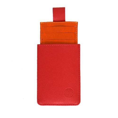 Portadocumentos en cuero rojo