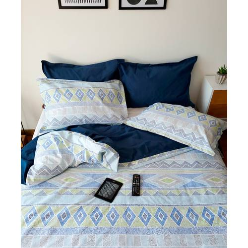 Set Duvet Doble Faz Puntillismo Azul