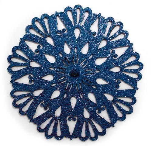 Individual para Mesa, Doble Faz Azul Mate y Dorado Mod Flower 37cm,