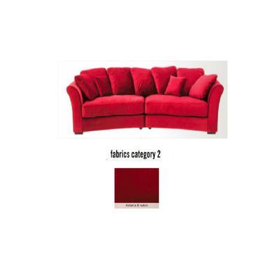 Sofá Fasano, 2 puestos, tela 2 - Astoria 8 rubin (287x133x70cms)