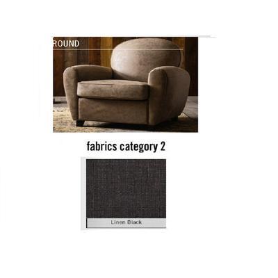 Poltrona Round, tela 2 - Linen Black  (84x82x84cms)