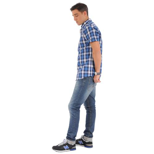 Camisa Manga Corta Greenport Jack Supplies para Hombre- Azul