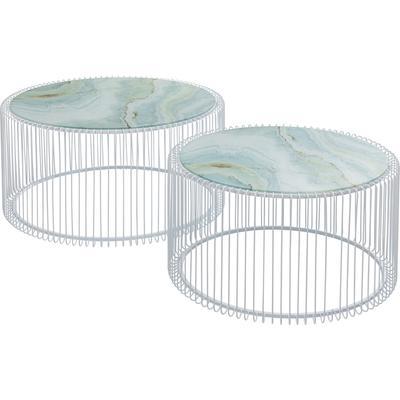 Mesa centro Wire cristal blanco (2/Set)