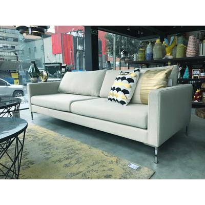 SOFA PORTOBELLO 3-SEATER, Entirely Upholstered in BOMBAY 14 (light beige) ,  Chrome Legs at end of sofa