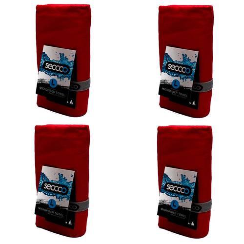 SetX 4 Toallas de Microfibra Rojo L