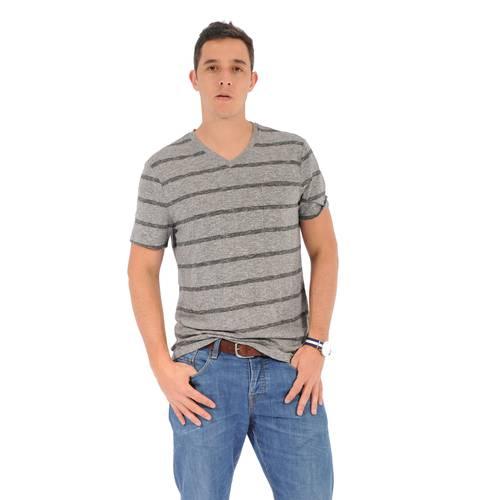 Camiseta Cuello V Color Siete Para Hombre  - Gris