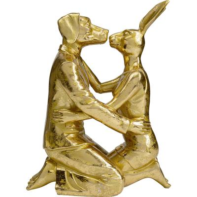 Objeto decorativo Kissing Rabitt and Dog oro
