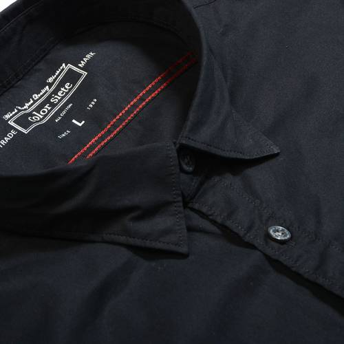 Camisa Manga Larga Color Siete Para Hombre - Negro
