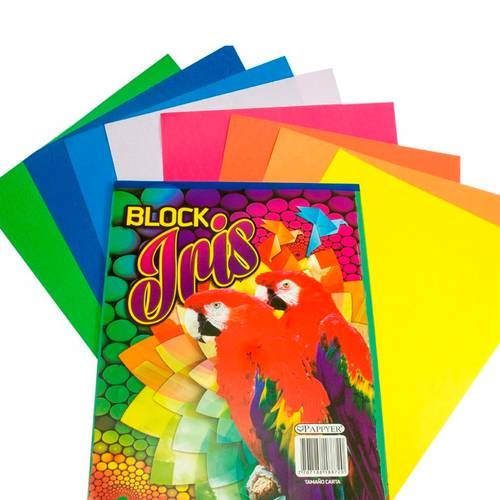 Papel Iris Block Tamaño Carta X3 Block - Colores Surtidos