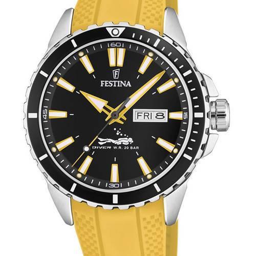 Reloj analógico negro-amarillo 78-4
