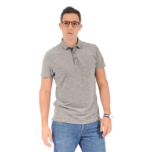 Camiseta Tipo Polo Color Siete para Hombre - Gris