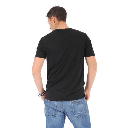 Camiseta Cuello V Color Siete para Hombre - Negro