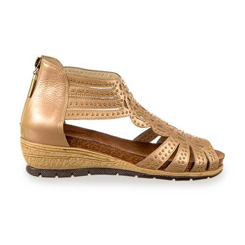 Zapato Tipo Cage Shoes, En Cuero Champaña