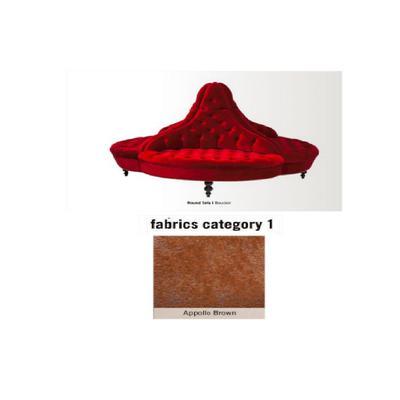 Sofá Round, 4 puestos, pequeño, tela 1 - Appollo Brown (160x126x160cms)