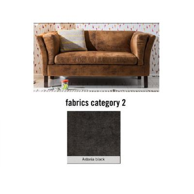 Sofá Canapee, 2 puestos, tela 2 - Astoria Black (160x73x79cms)