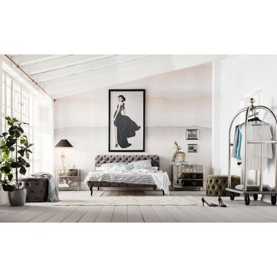 Cama Desire Velvet gris plata 180x200 cm