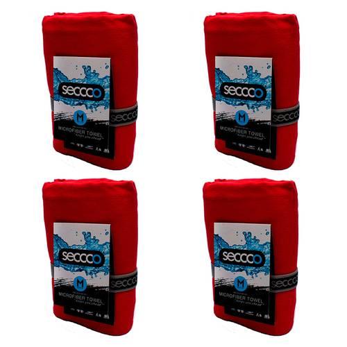 SetX4 Toallas de Microfibra Rojo M