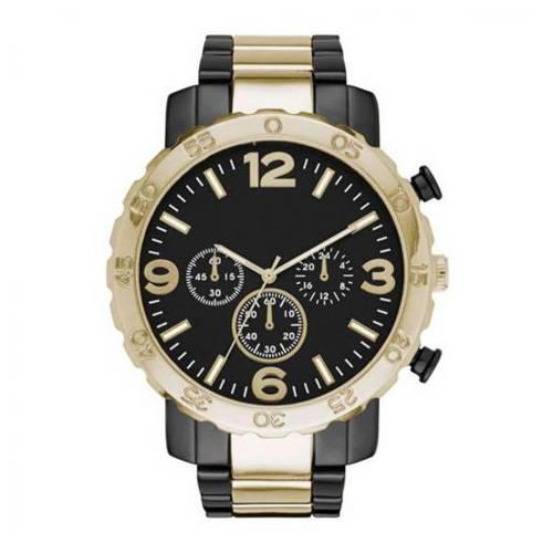 Reloj análogo negro-negro-dorado O169