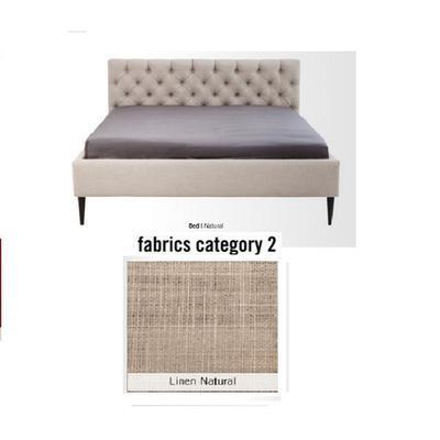 Cama Nova,  tela 2 - Linen Natural,   (85x180x215cms), 160x200cm (no incluye colchón)