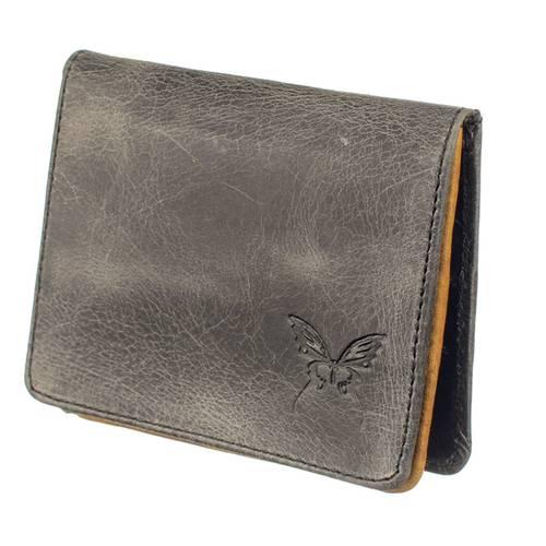 Mini billetera para mujer en cuero Calzado Guerreros JA-07 gris musgo x miel