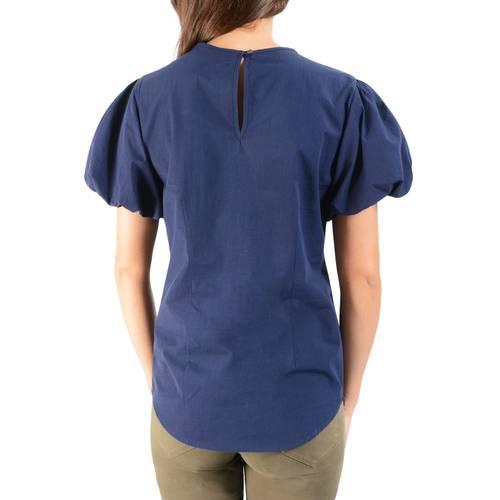 Blusa Manga Corta Solida Color Siete para Mujer - Azul