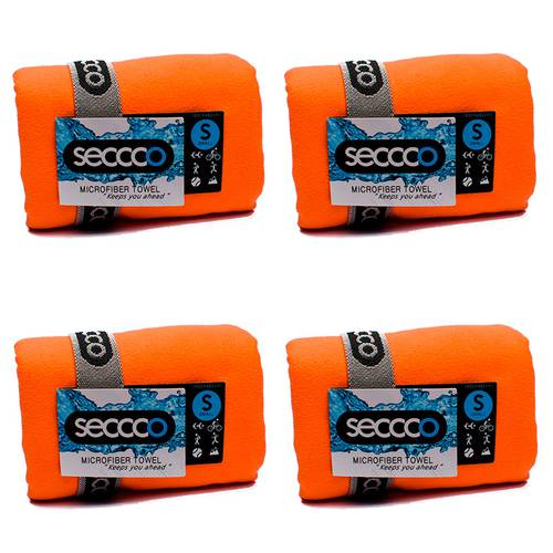 SetX 4 Toallas de Microfibra Naranja S
