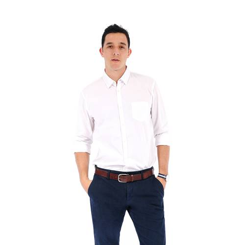 Camisa Manga Larga Color Siete para Hombre - Blanco
